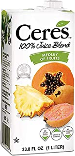 Ceres 100% All Natural Pure Fruit Juice Blend | Gluten Free | Rich in Vitamin C | No Sugar or Preservatives Added, 33.8 FL OZ, Medley of Fruits (Pack of 12)