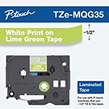 """Brother Genuine P-Touch TZE-MQG35 Tape, 1/2"""" (0.47"""") Laminated White on Lime Green Water-Resistant 0.47"""" x 16.4 ft (24mm x 8mm), Single-Pack"""