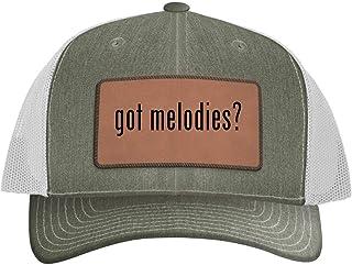One Legging it Around got melodies? - Leather Dark Brown Patch Engraved Trucker Hat