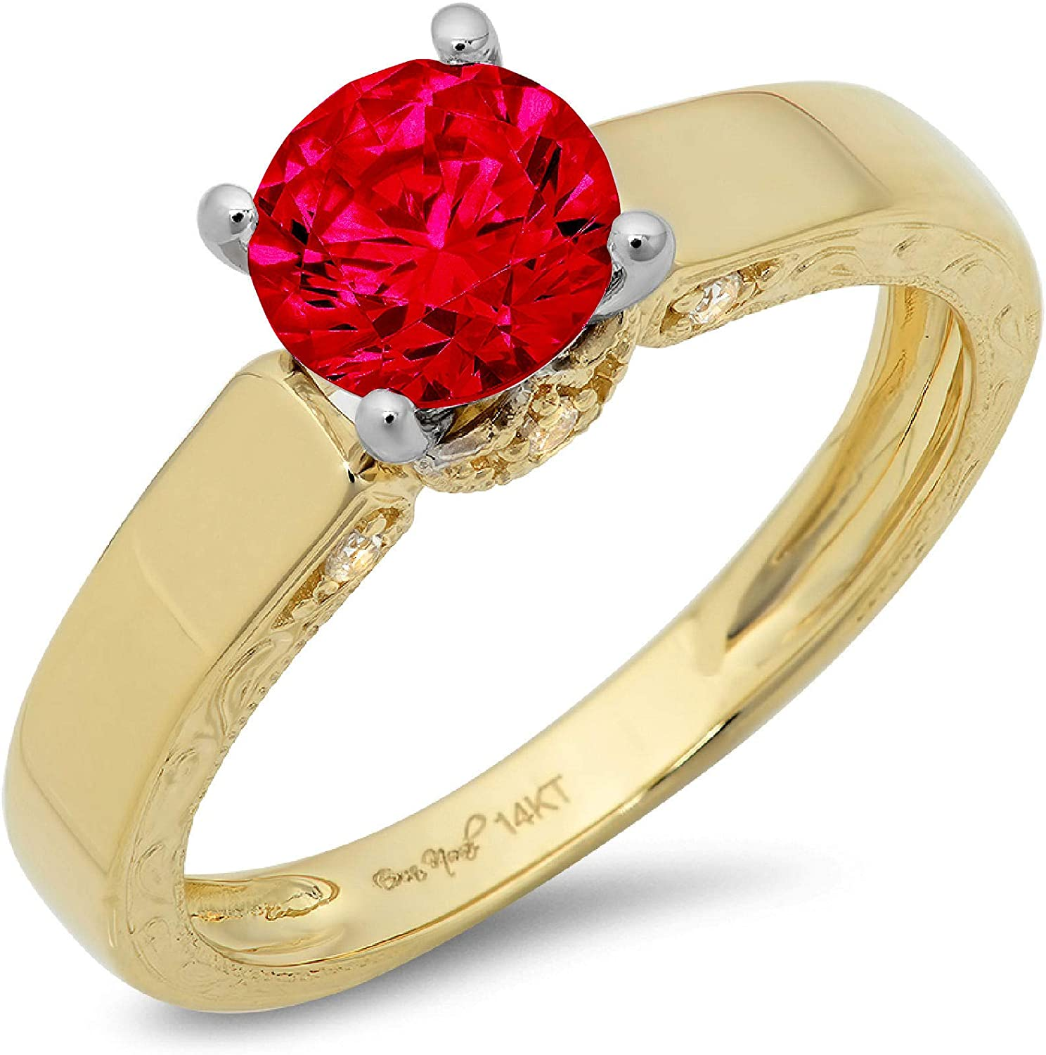 1.70ct Brilliant Round Cut Solitaire Genuine Flawless Simulated Ruby Gemstone Engagement Promise Anniversary Bridal Wedding Accent Ring Solid 18K 2 tone Gold