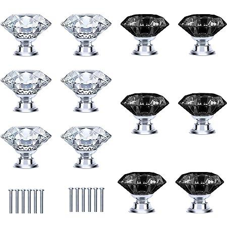 De Haute Quatlite 12 x Poign/ées Boutons de Portes Rose Transparent Diamant D/écoration Cuisine Tiroir Placard