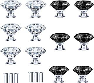 TAZEMAT 12pcs Pomo para Cajón Forma de Diamante Brillante Tirador de Cristal para Armario Perilla de Puerta con Tornillo M...