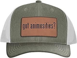 One Legging it Around got Animosities? - Leather Dark Brown Patch Engraved Trucker Hat