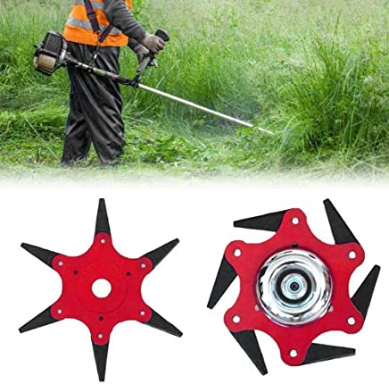 Red Womdee 65Mn Chained Grass Trimmer Head Blades Aluminium Alloy String Trimmer Head For Universal Almost All Lawn Mower