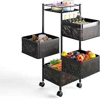 Support de rangement rotatif de cuisine, chariot de chariot sur pied en métal, étagère d'organisation multicouche avec rou...