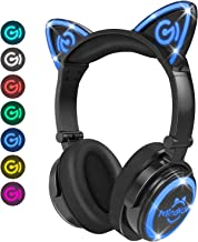 MindKoo Bluetooth Headphones Wireless Over Ear Cat Ear Headphones with LED Light Foldable..