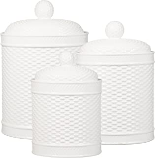 Home Essentials Set Of 3 White Round Basket Weave Embossed Canisters