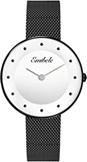 Emibele Women Stainless Steel Quartz Watch, Fashion Dot Dial 50M Water Resistant Wristwatch with 14mm Width Metal Mesh Band