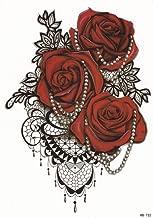 DaLin Large Temporary Tattoos, 4 Sheets (Red Rose)