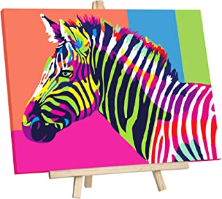 """JingZhouYang DIY Oil Painting, Paint by Numbers for Kids & Adults & Beginner Painting Gift Kits - 16"""" × 12"""" Colorful Zebra..."""