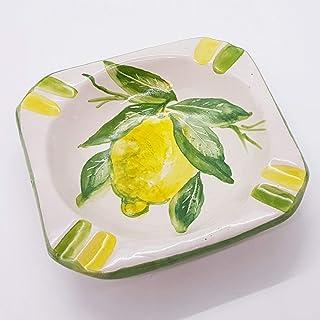 Posacenere Limoni Verde Realizzato e dipinto a mano Le Ceramiche del Castello Idea Bomboniera dimensioni 15 x 5 centimetri