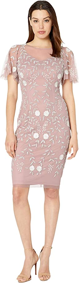 dec39dadc10 Dusted Petal Ivory. 1. Adrianna Papell. Beaded Cocktail Sheath Dress with  Flutter Sleeves.  249.00