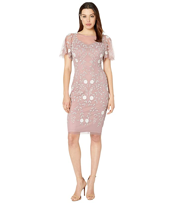 Adrianna Papell Beaded Cocktail Sheath Dress with Flutter Sleeves (Dusted Petal/Ivory) Women