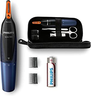 Philips NT5180/15 - Recortador de vello, nariz y orejas, resistente al agua, negro y azul oscuro, battery-powered