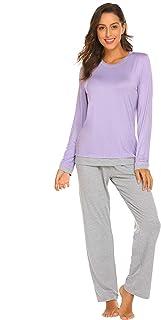 مجموعة بيجامات نسائية من Ekouaer مكونة من قطعتين بأكمام طويلة ملابس نوم ناعمة ملابس نوم واسعة S-XXL