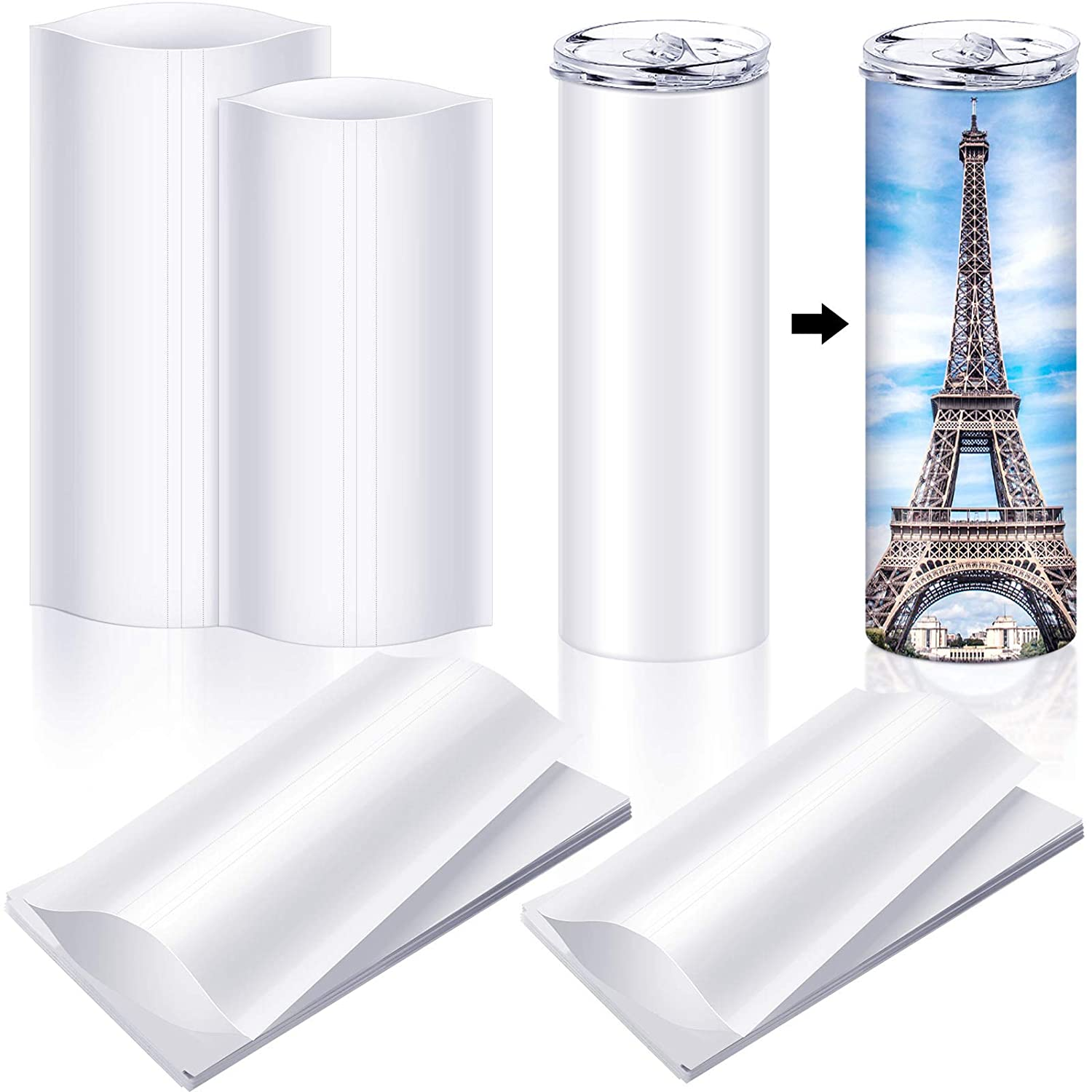 Chrisfall 60 Pieces Sublimation Shrink Wrap Film 2 Different Siz