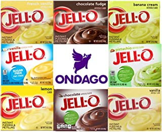 Jell-O Instant Pudding Variety Pack, 8 Flavors, 1 count of each