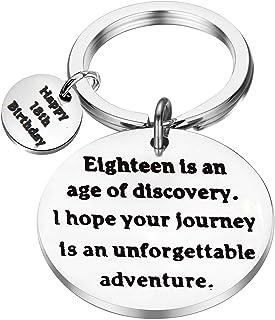 FEELMEM Birthday Gift Happy Birthday Keychain, 10th 12th 13th 16th 30th, Stainless Steel Birthday Key Ring Gift, for Women...