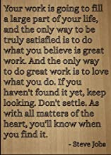 Mundus Souvenirs Your Work is Going to Fill a Large Part. Quote by Steve Jobs, Laser Engraved on Wooden Plaque - Size: 8