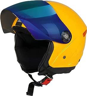 JMD HELMETS GRAND Premium Open Face Helmet With Mirror Visor (Yellow, Large)
