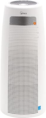 Winix QS, 4 etapas True HEPA Tower Bluetooth y Altavoces JBL purificador de Aire, 320 pies Cuadrados, Color Blanco
