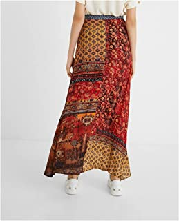 تنورة طويلة البوهيمي للنساء ZHUSJJS (اللون : أحمر مرجاني ، المقاس: 36)