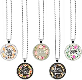 BUENAVO Bible Verse Pendant Necklace Christian Songs and Hymns Glass Cabochon Pendant Inspired Necklace with 24 inches Cha...