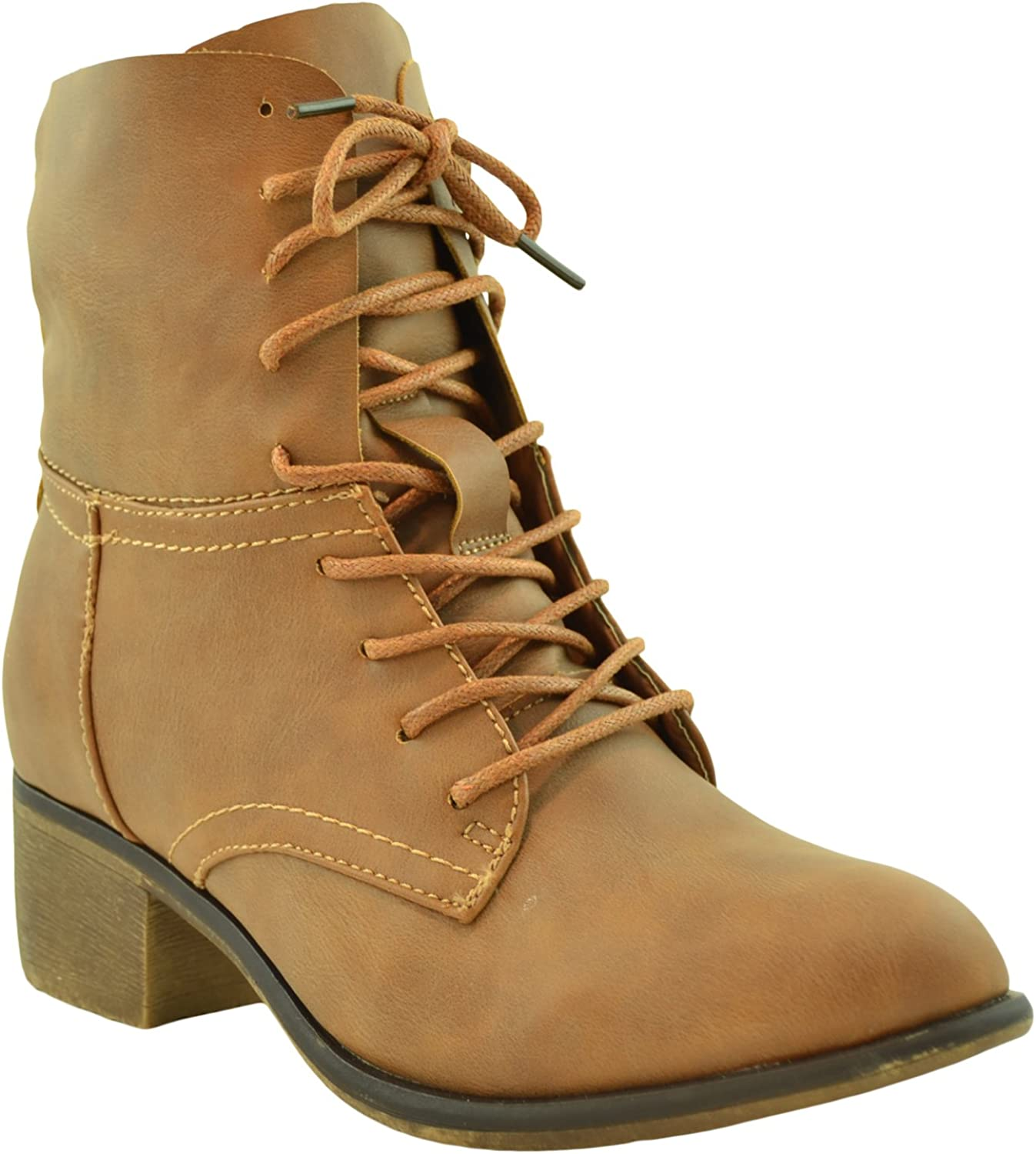 KSC Womens Ankle Boots Faux Leather Lace Up Western Block Heel shoes Cognac