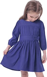 Bonny Billy Girls Long Sleeve Solid Pleated A-Line Children Dress with Bow