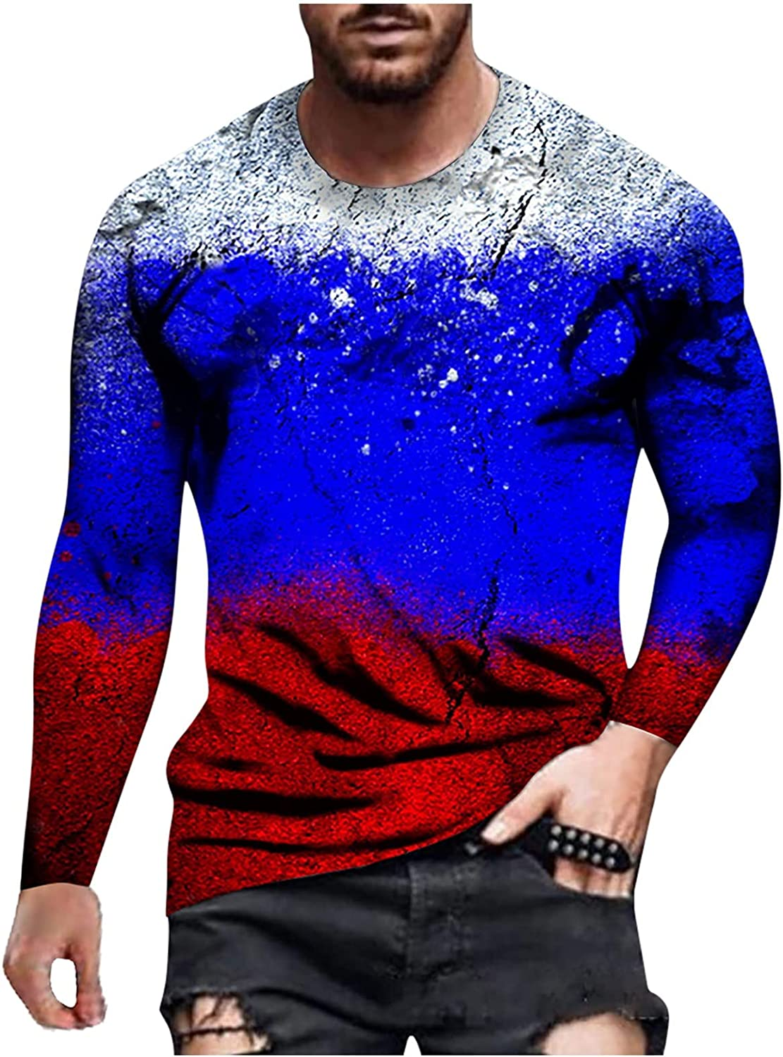Huangse Men's Slim Fit Long Sleeve Round Collar T-Shirt Casual Print Contrast Color Athletic Tee Tops