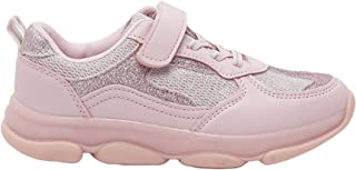 Shoexpress Girls Glitter Textured Sneakers with Hook and Loop Closure