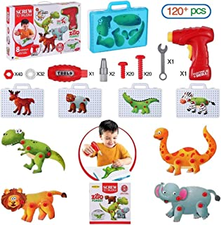 2D&3D Building Puzzle with Drill Screws Tools Toys, Animals Construction Puzzles Blocks STEM Kit, DIY Drill & Build, Best Gifts for Kids Ages 3-5 Year Olds