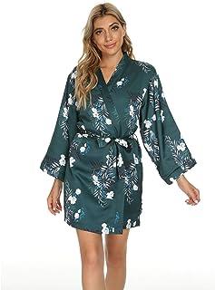Mnemo Damen Bademantel Bedruckter Morgenmantel Kimono Satin Langarm Pyjama Kurze Nachtwäsche V Ausschnitt Robe mit Gürtel