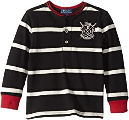 Striped Cotton Mesh Henley (Toddler)