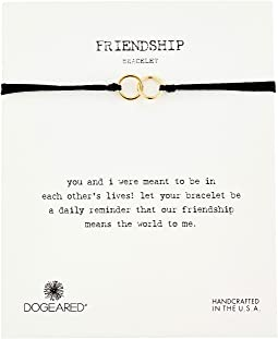 Dogeared Friendship Double Linked Rings Silk Bracelet