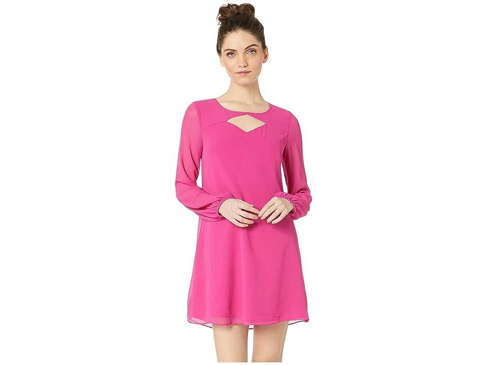 BCBGeneration Cocktail Cut Out Shirt Woven Dress (Bright Fuchsia) Women