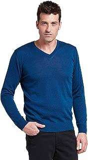 BRUNELLA GORI Maglione Pullover Scollo V Uomo in 100/% Lana Merino cardato Color Blu Avio