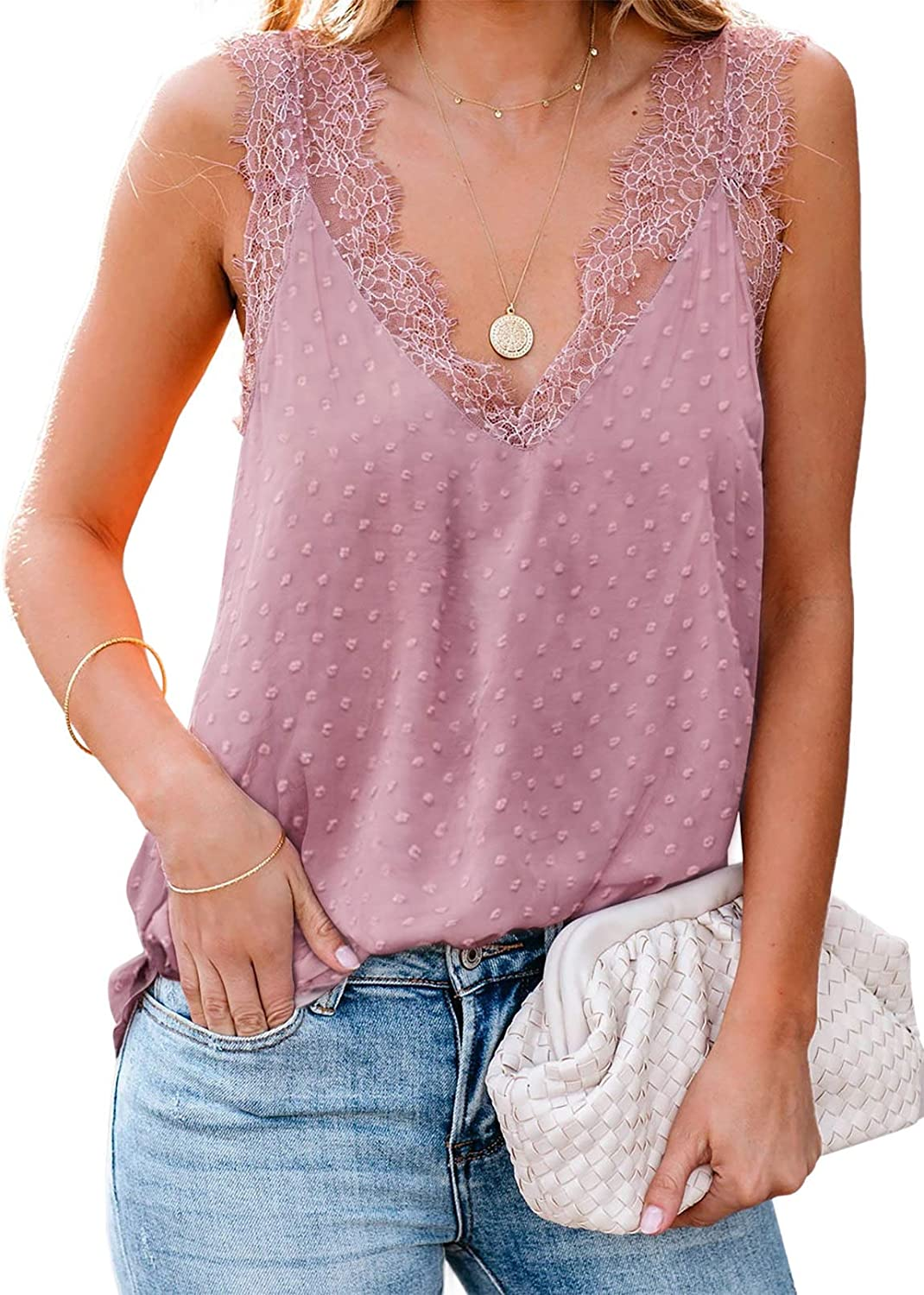 Canikat Womens Lace Trim Tank Tops Sexy V Neck Cami Top Casual Loose Sleeveless Shirts Blouse Camisole Pink Medium