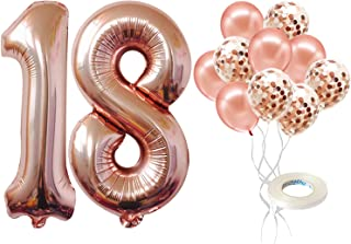 Rose Gold Number 18 Birthday Balloon - Large 40 inch |18 Balloons Numbers with Rose gold Confetti Balloons- Pack of 5 | 18...