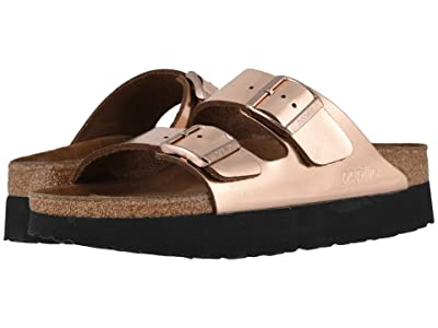 Birkenstock Arizona Platform by Papillio (Metallic Copper Leather) Women