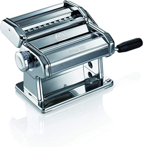 Marcato Design Atlas 150 Pasta Machine, Made in Italy, Includes Cutter, Hand Crank, and Instructions, Silver product image