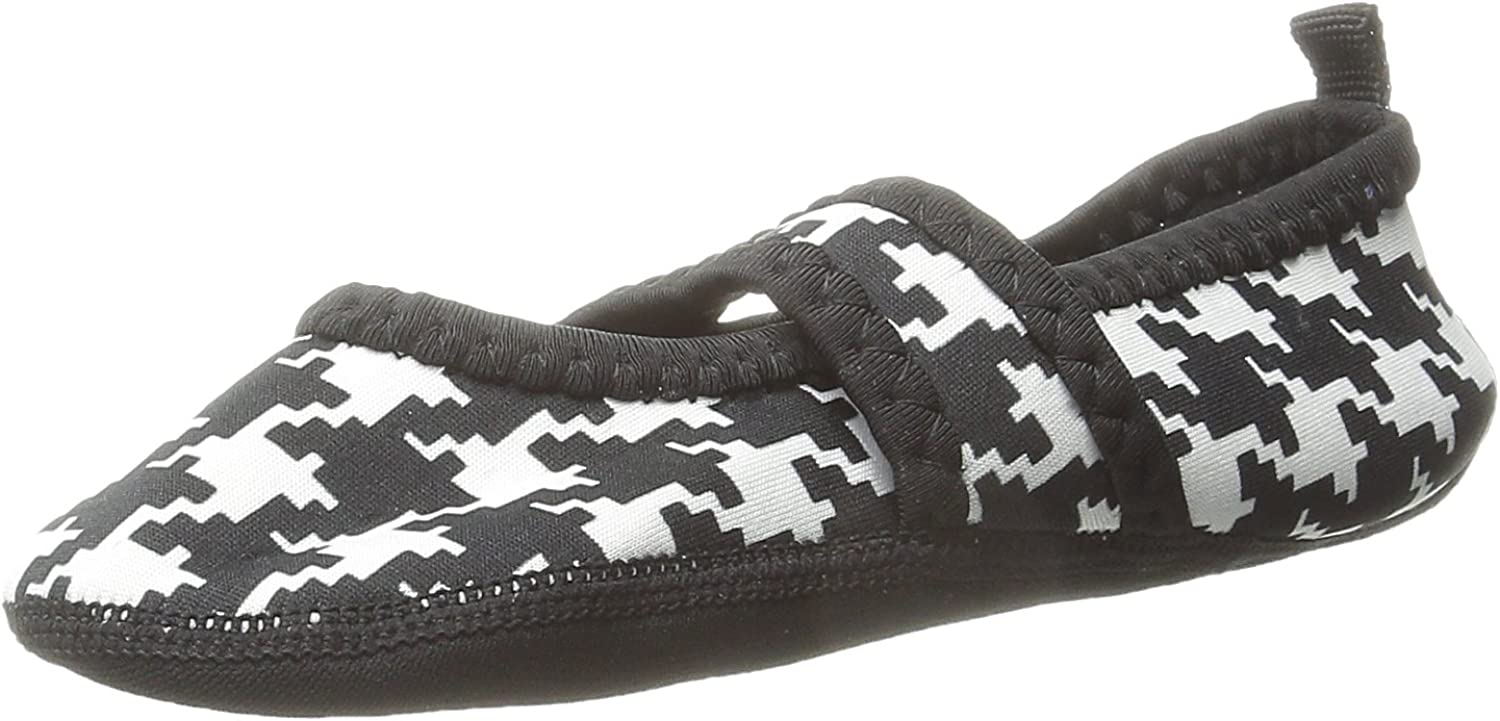 Nufoot Indoor Girls shoes Besty Lou, Black and White Hounds Tooth, X-Small 2 Count