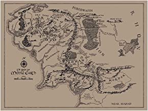 Inked and Screened SP_SYFI KR_24_K Sci-Fi and Fantasy Middle Earth Map Print, Kraft-Black Ink, 18