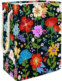 Vockgeng Fleurs colorées Accueil Organisation Panier de Rangement imperméable Pliable de Jouets de Jouets de Panier avec d...