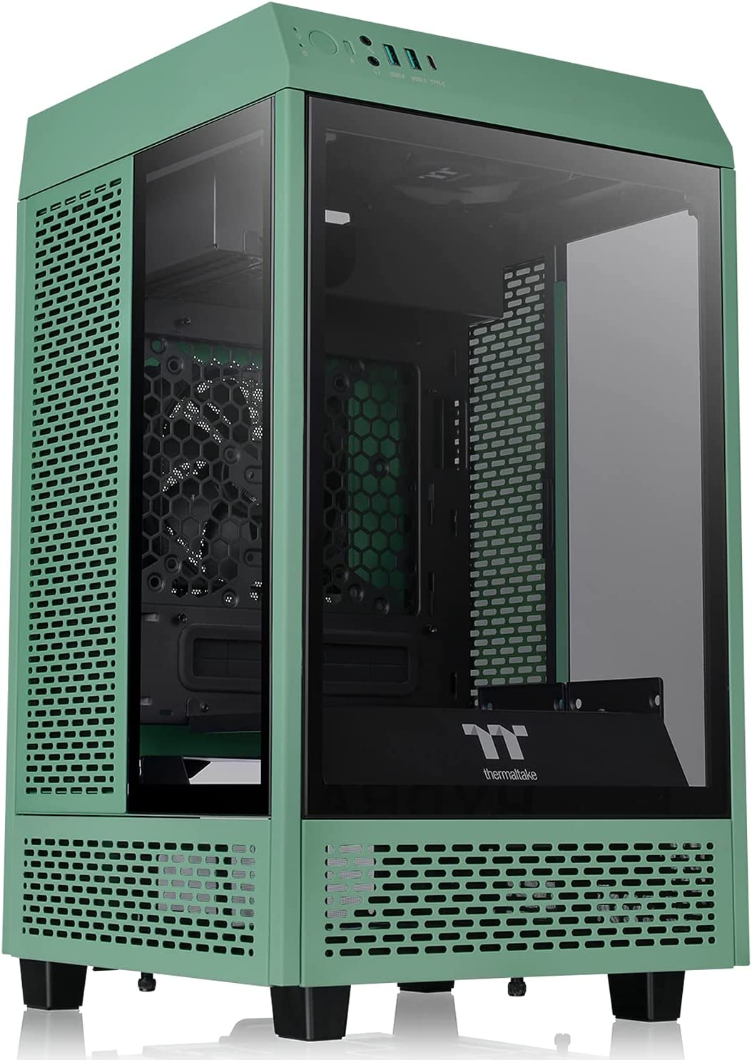 Thermaltake Tower 100 Racing Green Edition Tempered Glass Mini Tower Computer Chassis Supports Mini-ITX CA-1R3-00SCWN-00