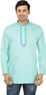 Maple Clothing Indian Clothing Fashion Shirt Embroidered Mens Short Kurta Cotton India Dress