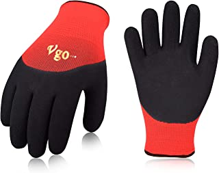 Vgo 5Pairs Freezer Winter Work Gloves, Double Lining Textured Rubber Latex Coated for Outdoor Heavy Duty Work(Size L,Red, RB6032)