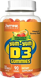 Jarrow Formulas Yum-Yum D3 Gummies, for Immune and Bone Support, 400IU, 90 Chews (Pack of 2)