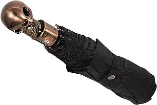 HappyGO Automatic Open Skull Head Three Fold Pure Black Anti-ultraviolet Travel Sunny Umbrella(Bronze,30.2 inch 8 bone)
