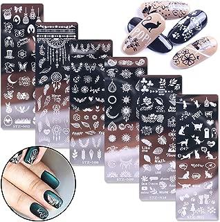 WOKOTO 6Pcs Nail Art Stamping Plates Set Cute Cartoon Nail Image Stamping Plate Manicure Template Nail Art Tools